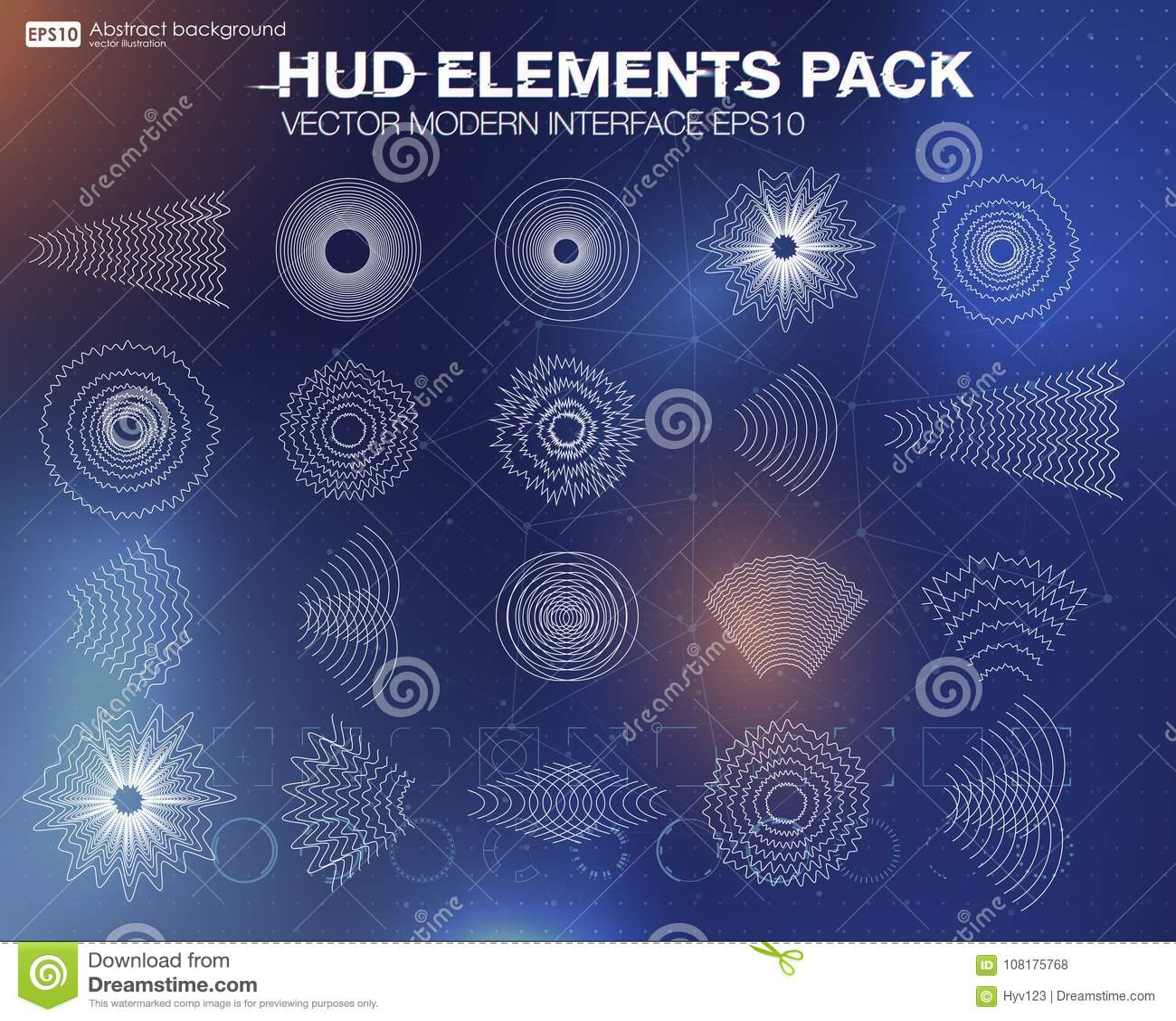 Set audio equalizer technology, pulse musical. Audio equalizer sound wave display horizontal.