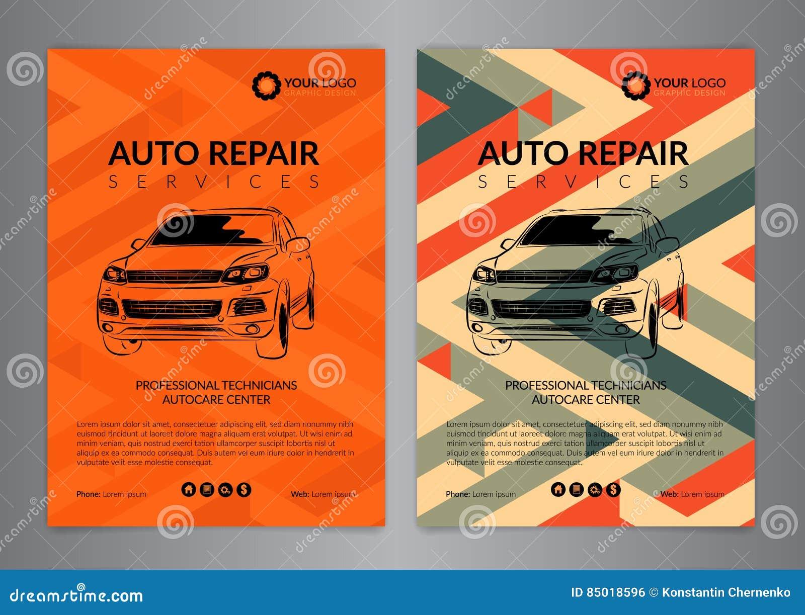 Set Auto Repair Business Layout Templates Automobile Magazine Cover Auto Repair Shop Stock Vector Illustration Of Banner Idea 85018596