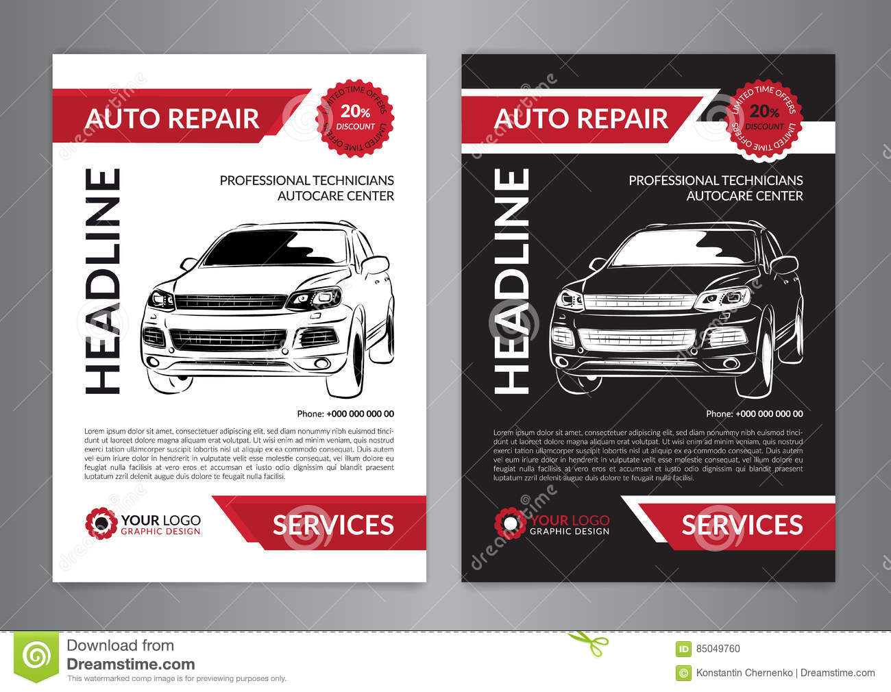 Set auto repair business layout templates automobile for Automobile brochure design