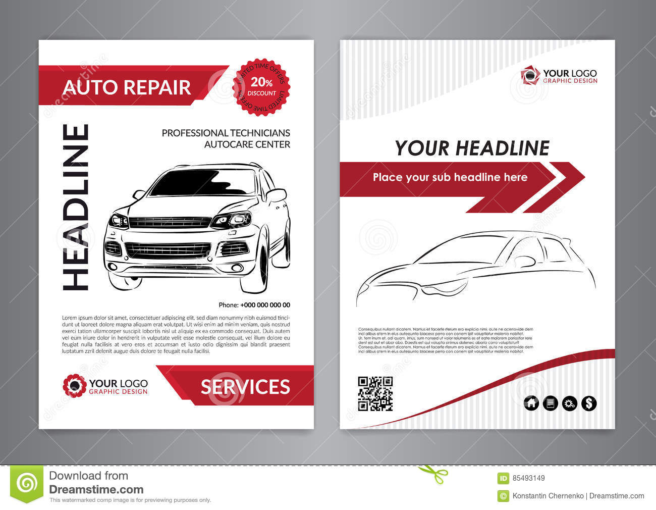 Set a4 auto repair business layout templates automobile for Automobile brochure design