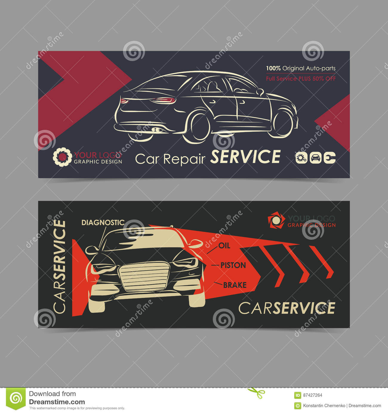 Set Of Auto Repair Service Banner, Poster, Flyer. Car Service ...