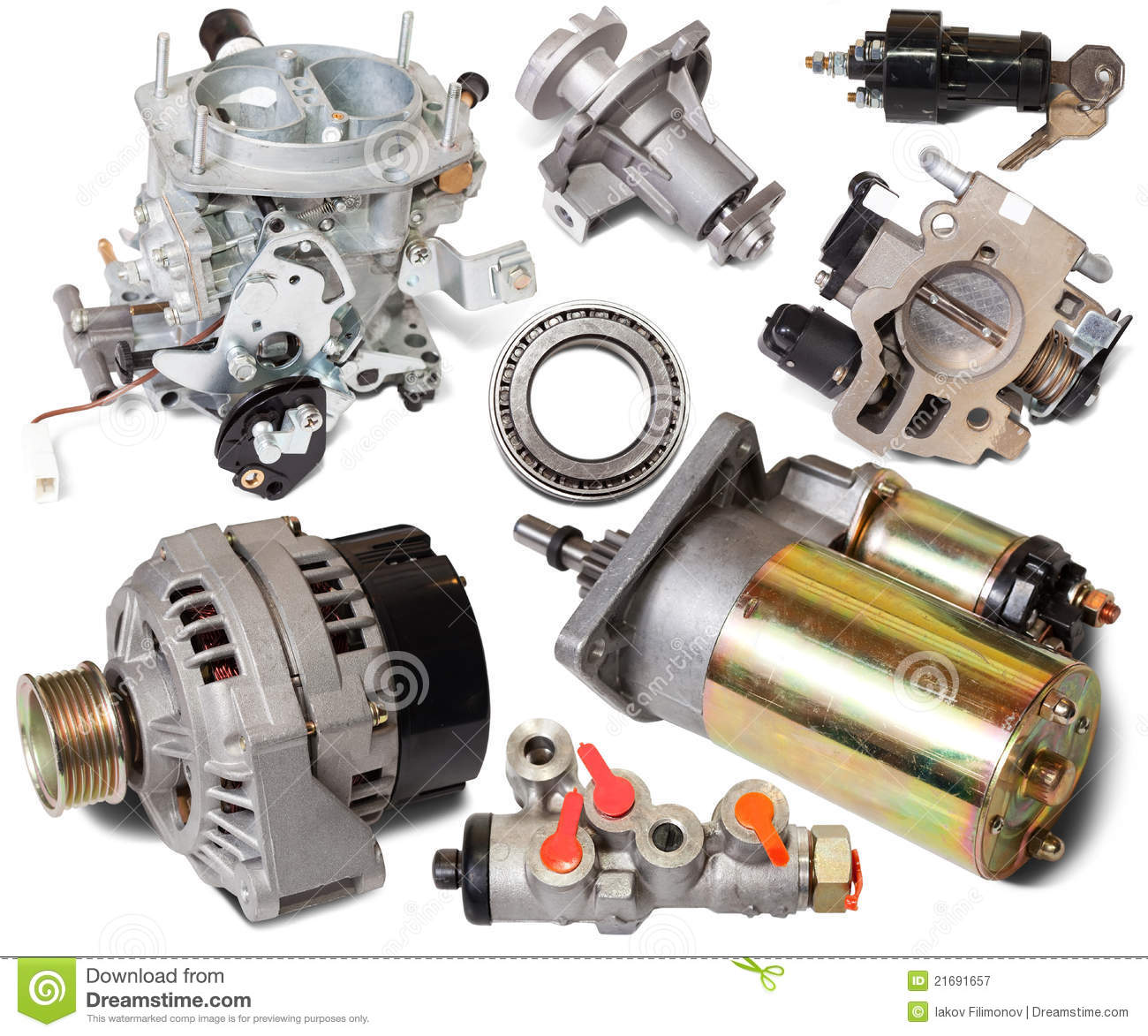 Auto Motor Parts : Set of auto spare parts royalty free stock photography