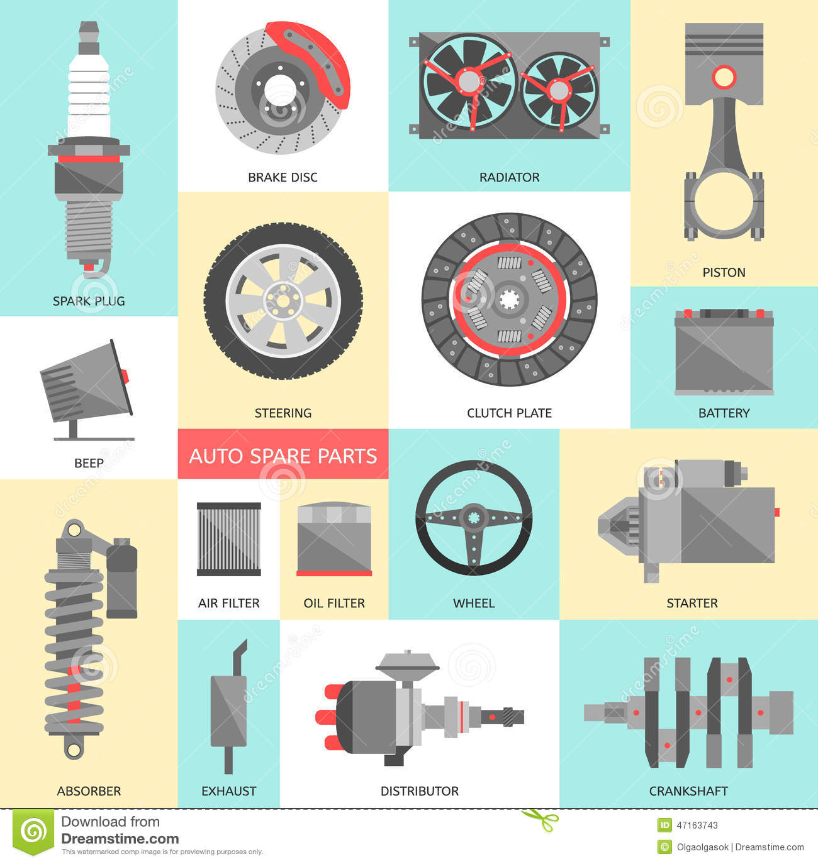 Auto Repair Parts : Set of auto spare parts car repair icons in flat style