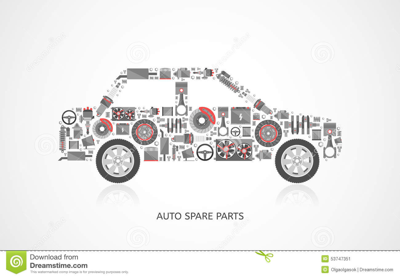 Replacement Auto Parts : Set of auto spare parts stock vector image industry