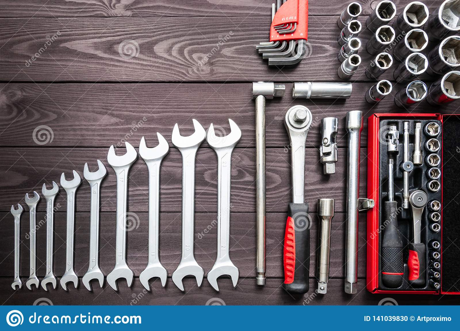 Set Of Auto Tools On Dark Wooden Workbench. Copy Space ...