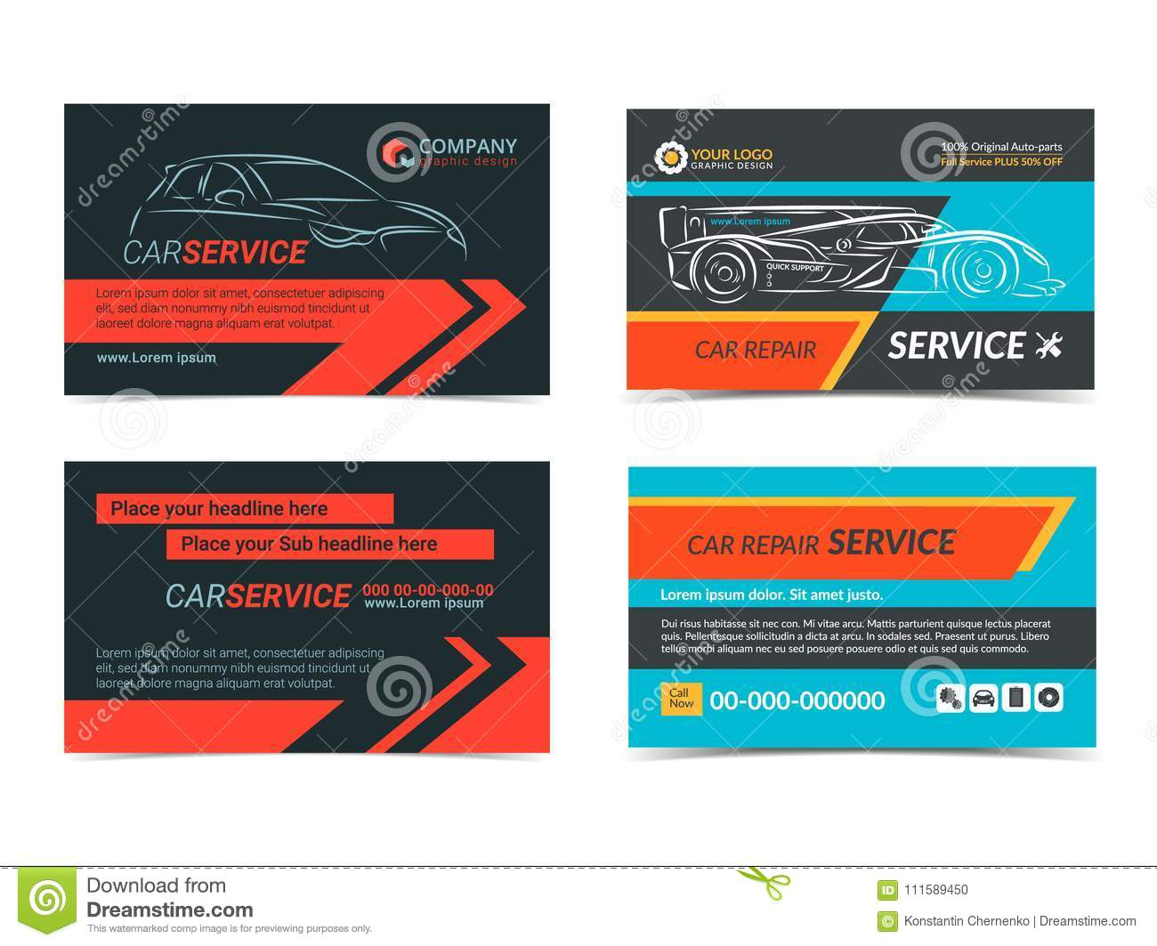 Set Of Automotive Repair Service Business Cards Layout Templates Stock Vector Illustration Of Business Mockup 111589450