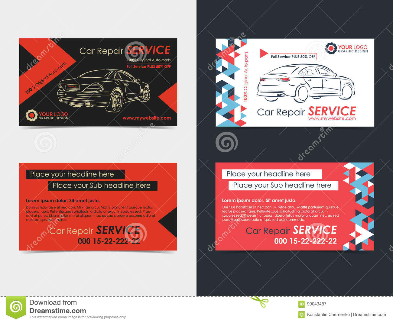 Set of automotive service business cards layout templates stock download set of automotive service business cards layout templates stock vector illustration of mechanic reheart Gallery