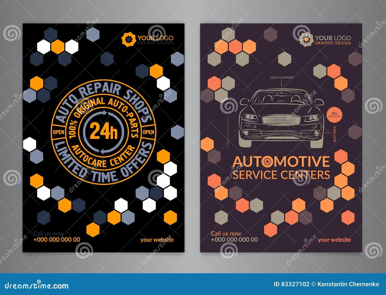 Set Automotive Service Centers Business Layout Templates A5 A4 Auto Repair Shop Brochure Templates Automobile Magazine Cover Stock Vector Illustration Of Fixing Auto 83327102