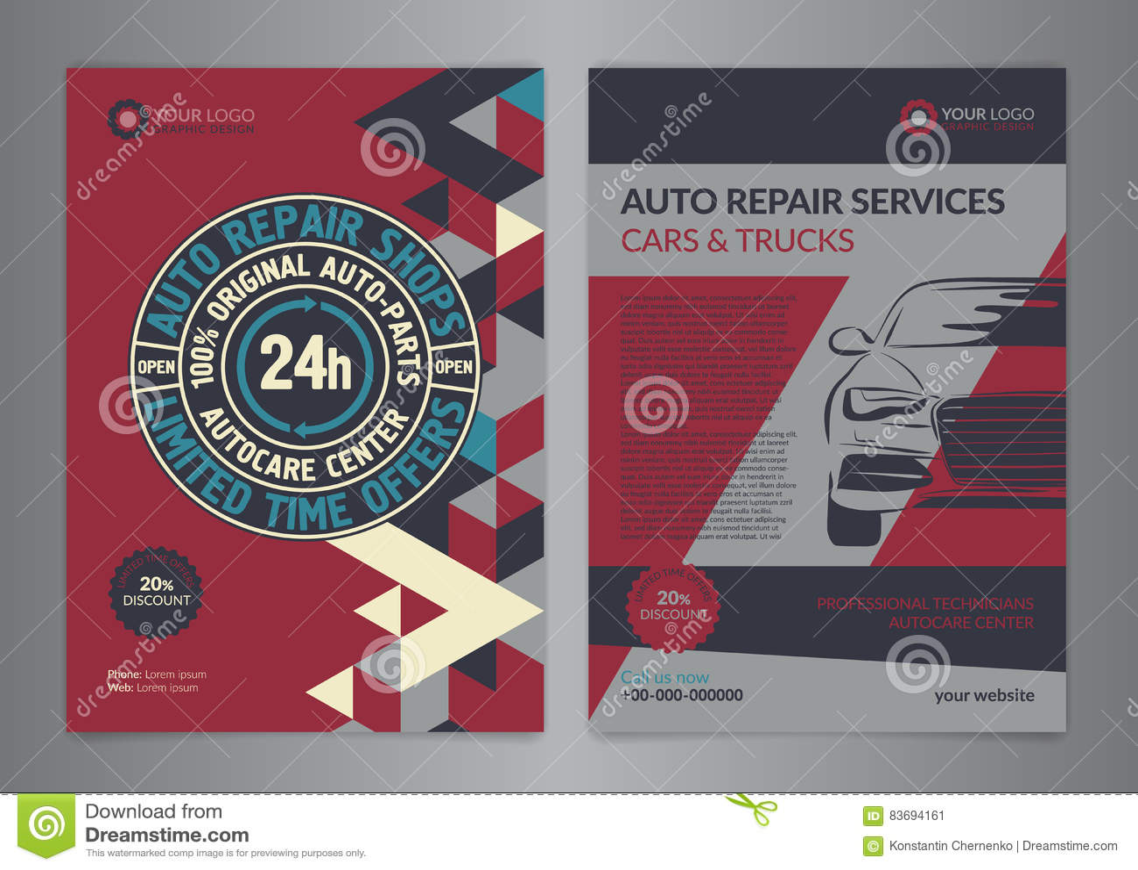 set automotive service centers business layout templates a4 auto repair shop brochure templates automobile magazine cover geometry pattern triangle