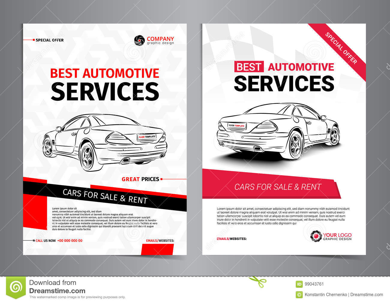 Set Of Automotive Services Layout Templates Cars For Sale Stock Vector Illustration Of Flyer Corporate 99043761