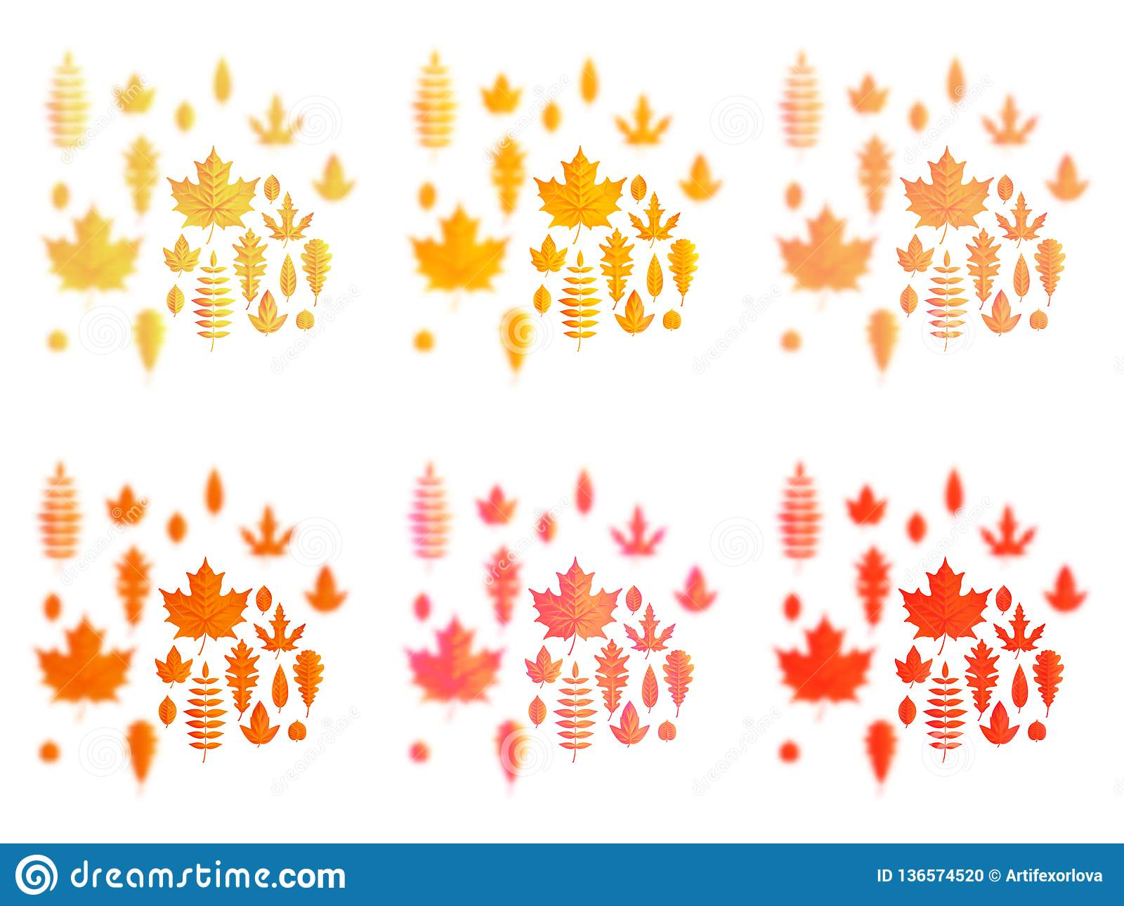 Set of autumn leaves or fall foliage icons. Maple, oak or birch and rowan tree leaf. Falling poplar, beech or elm and