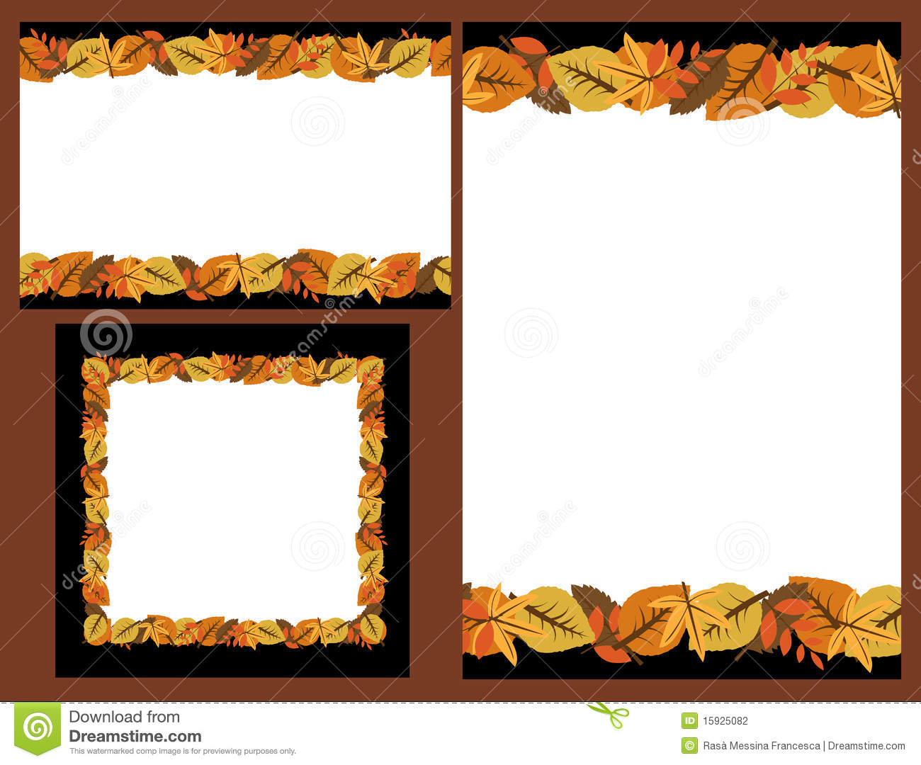 Download Set Of Autumn Leaves Frames Stock Vector - Illustration of decorative, blank: 15925082
