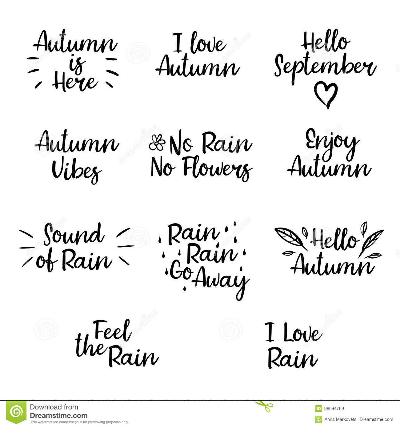 Set Of Autumn Phrases Modern Calligraphy For Banner Poster Card