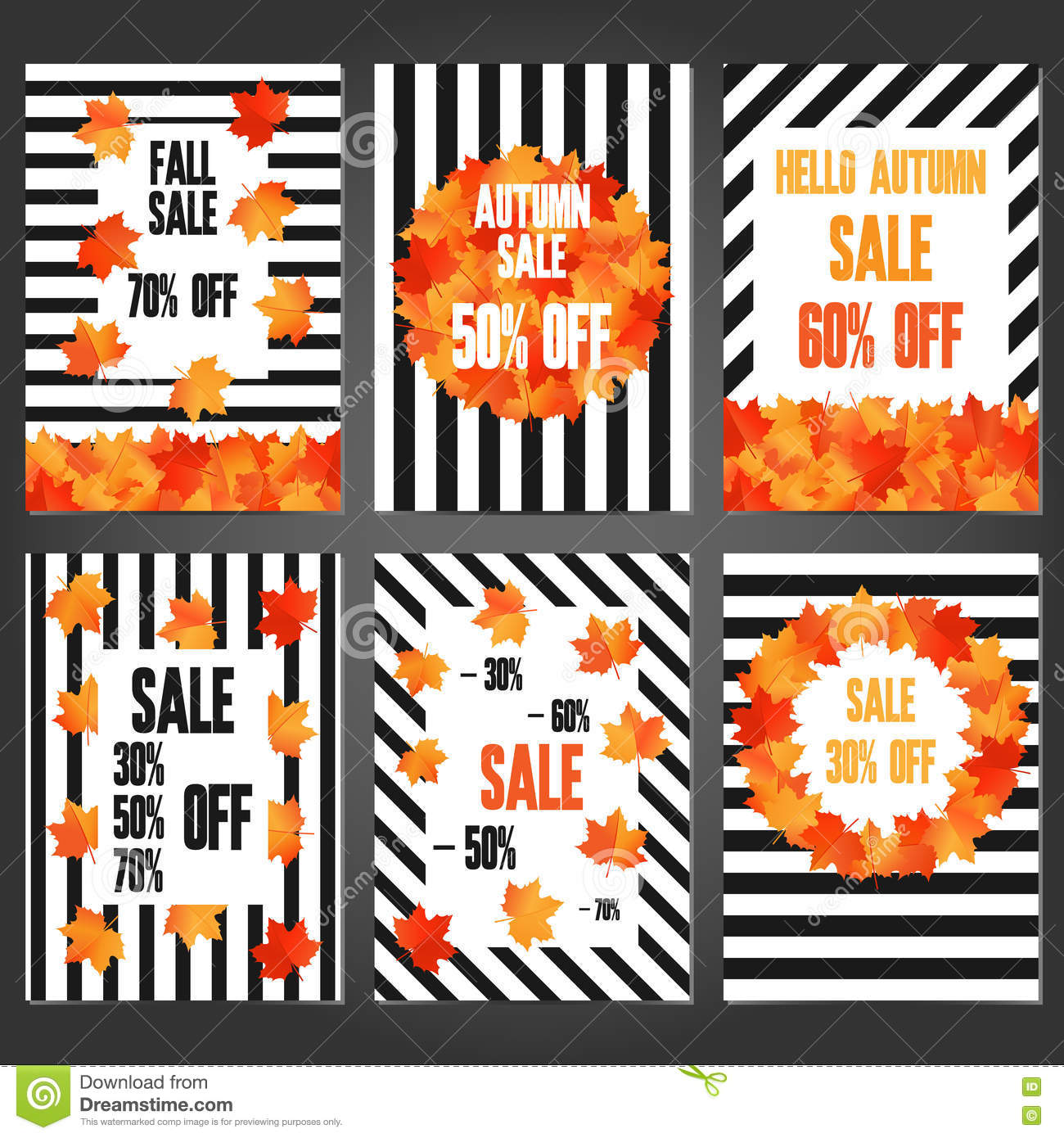set of autumn sale banners and promotional flyer templates stock
