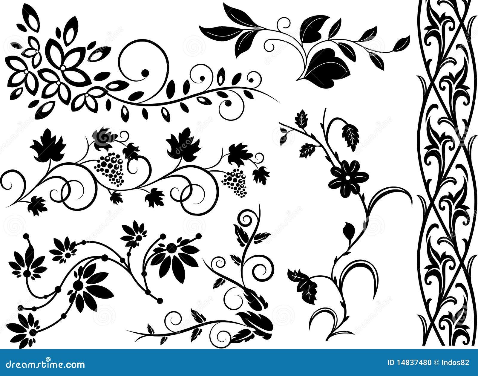 Set av blom- element