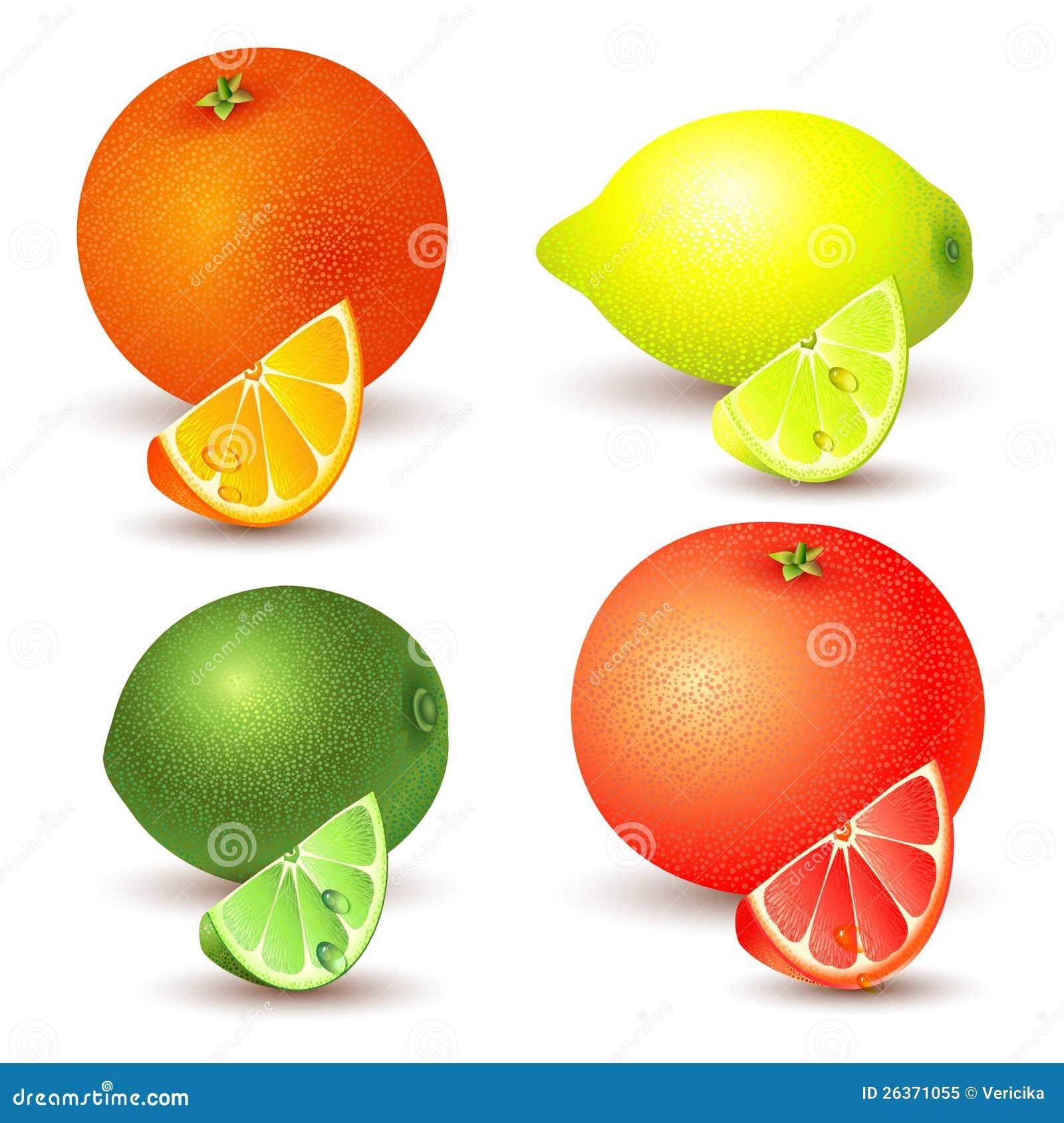 Set av citrusfrukt