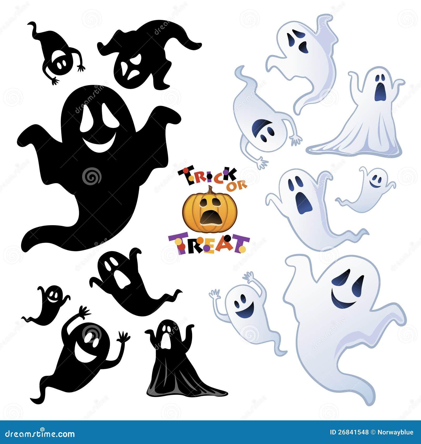 Set av den Halloween spöken, spökesilhouette