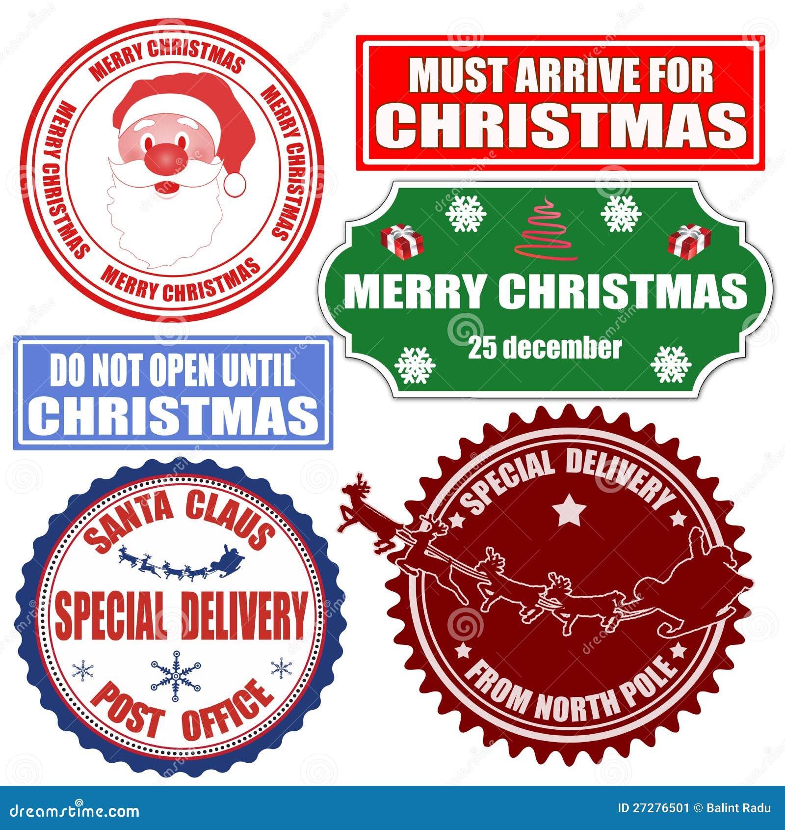 Set av julstämplar och etiketter