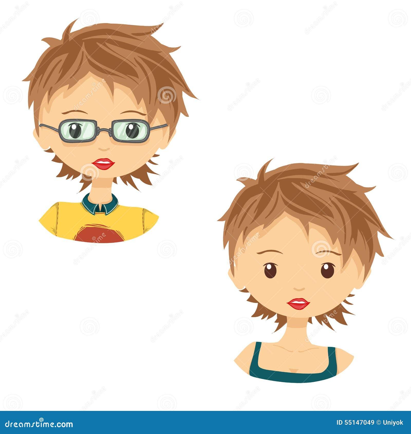 Set Of Avatar Cute Cartoon Girl In Glasses Stock Vector