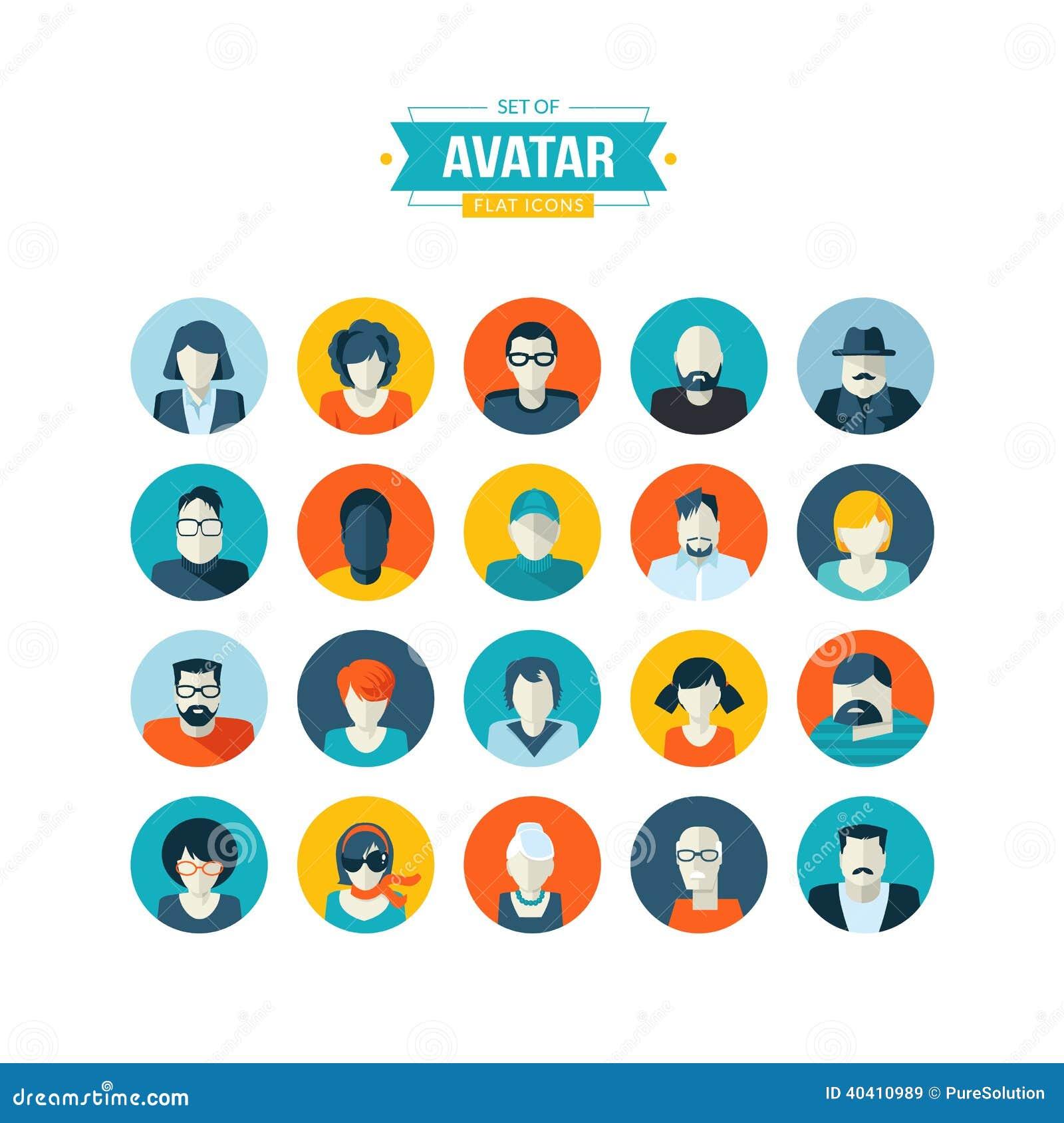 Developer Avatar: Set Of Avatar Flat Design Icons Stock Vector