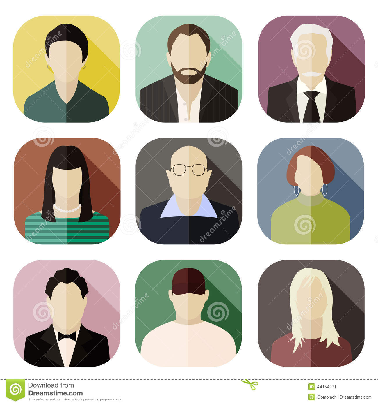 set of round flat icons with men stock vector illustration of