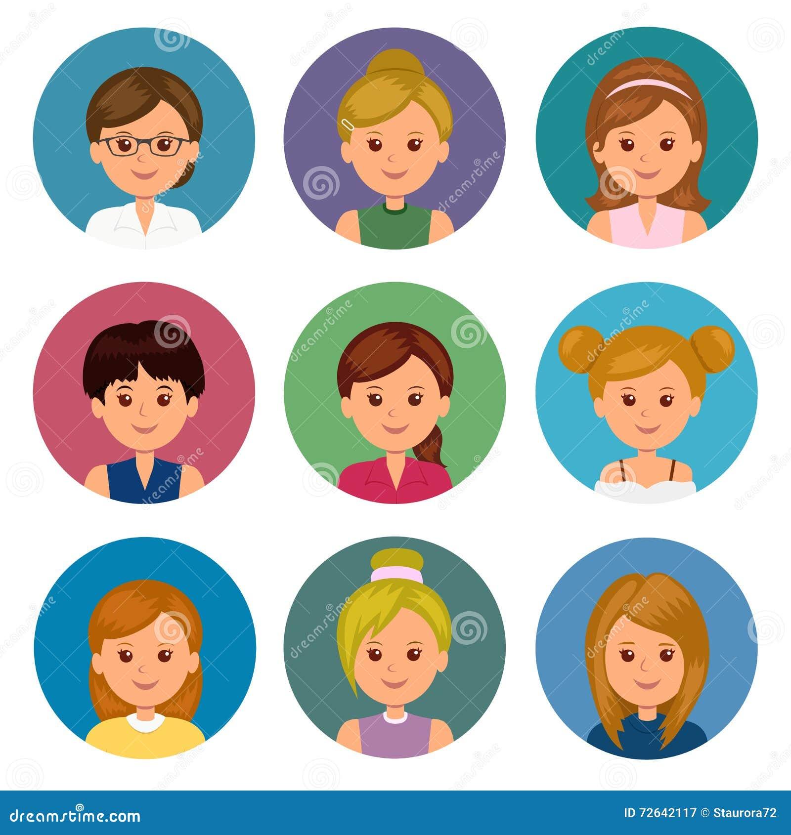 Set avatars dziewczyny z różnymi fryzurami Odosobneni kobiet avatars dla ui i sieci projekta