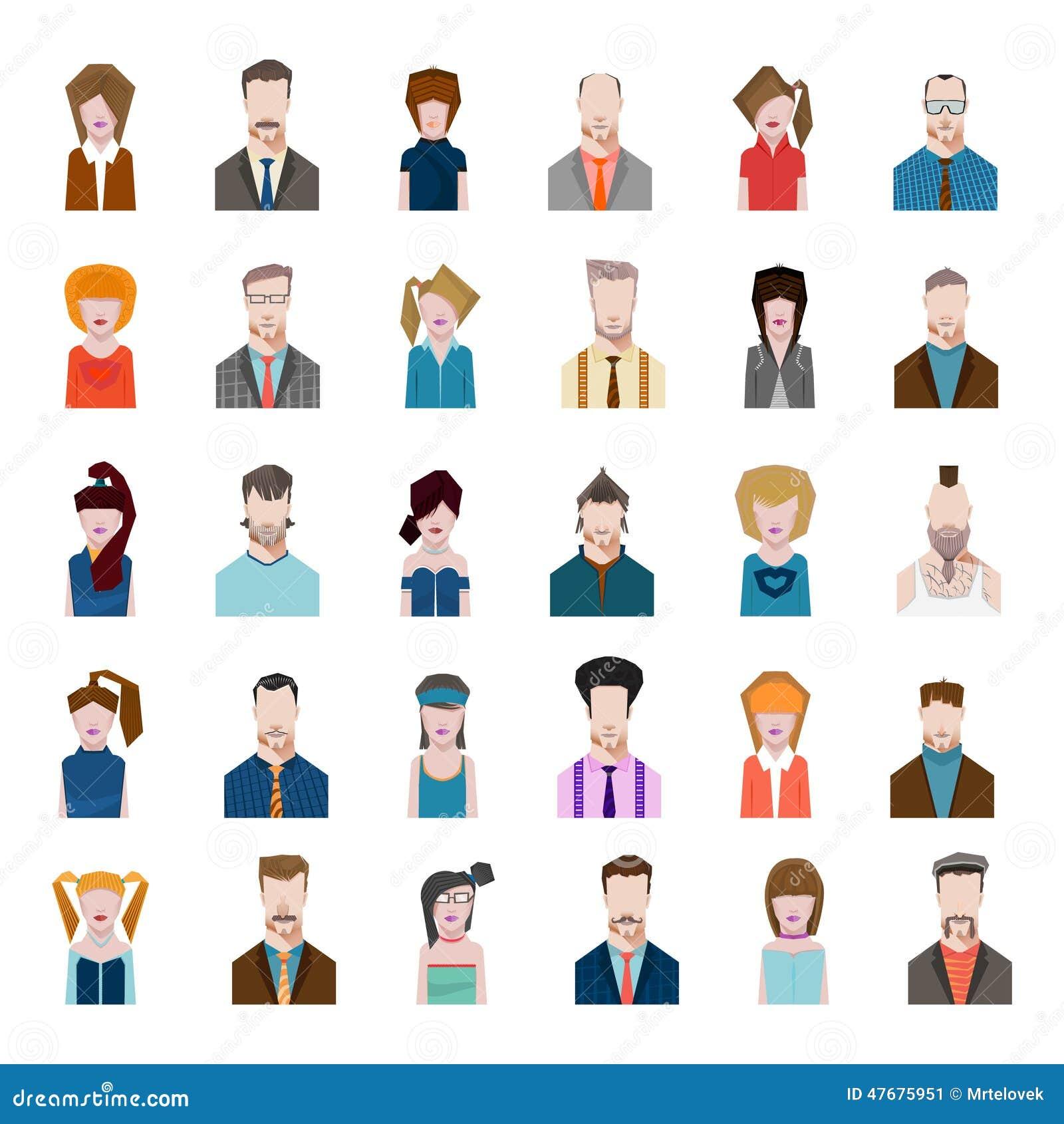 Set Avatars Flat Style Men Women Profession Stock Vector