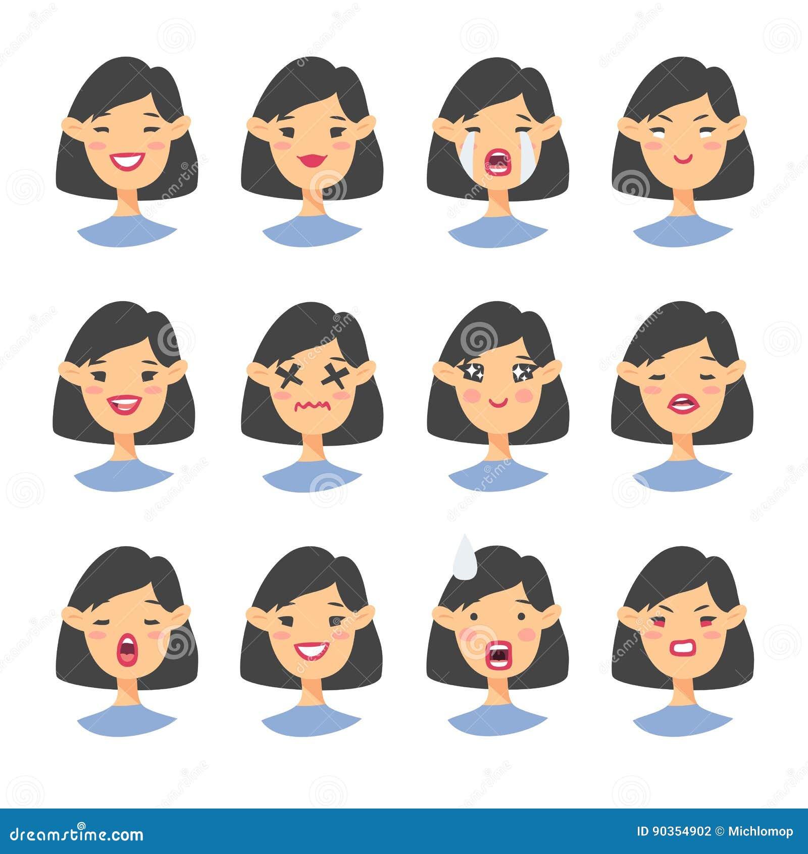 Set azjatykci emoji charakter Kreskówki emoci stylowe ikony Odosobneni dziewczyn avatars z różnymi wyrazami twarzy Płaski illustr