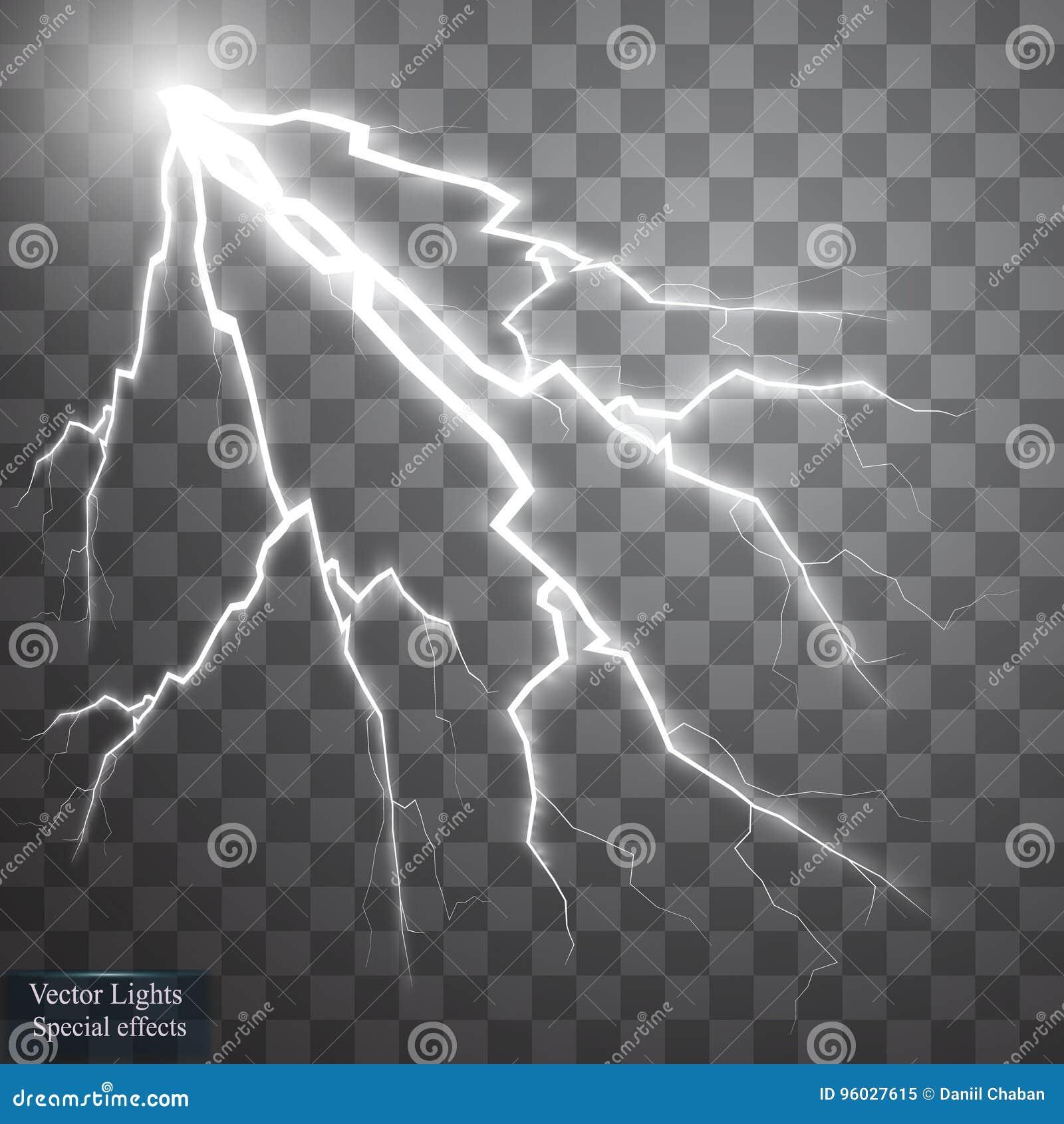Set błyskawicy Burza i błyskawicy Magiczni i jaskrawi oświetleniowi skutki