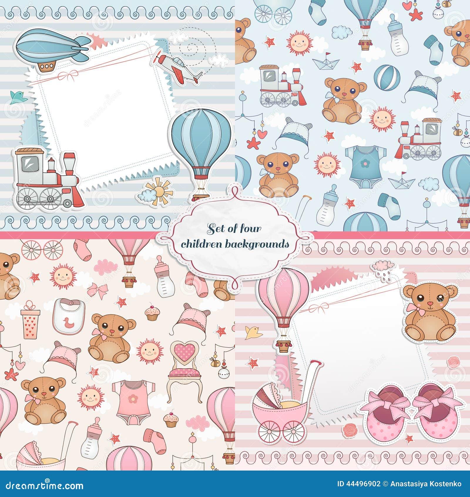 set of baby cards newborn card design stock vector image 44496902. Black Bedroom Furniture Sets. Home Design Ideas
