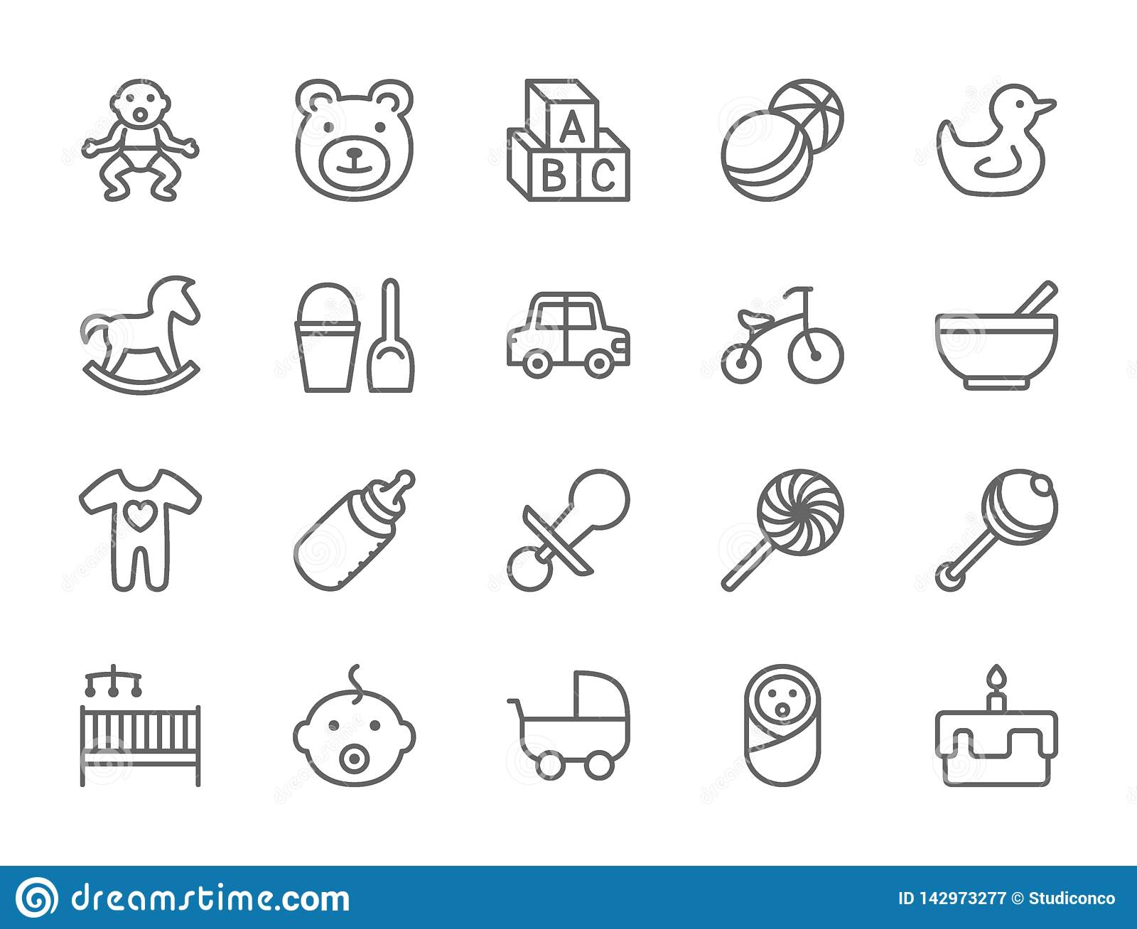 Set of Baby and Childhood Line Icons. Toys, Bicycle, Nipple, Stroller and more.