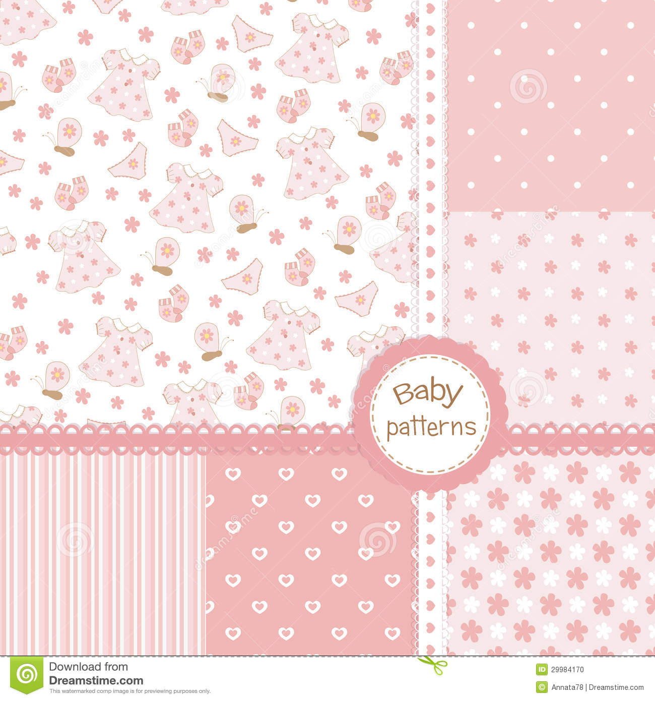 Baby Girl Seamless Patterns Stock Photo - Image: 29984170