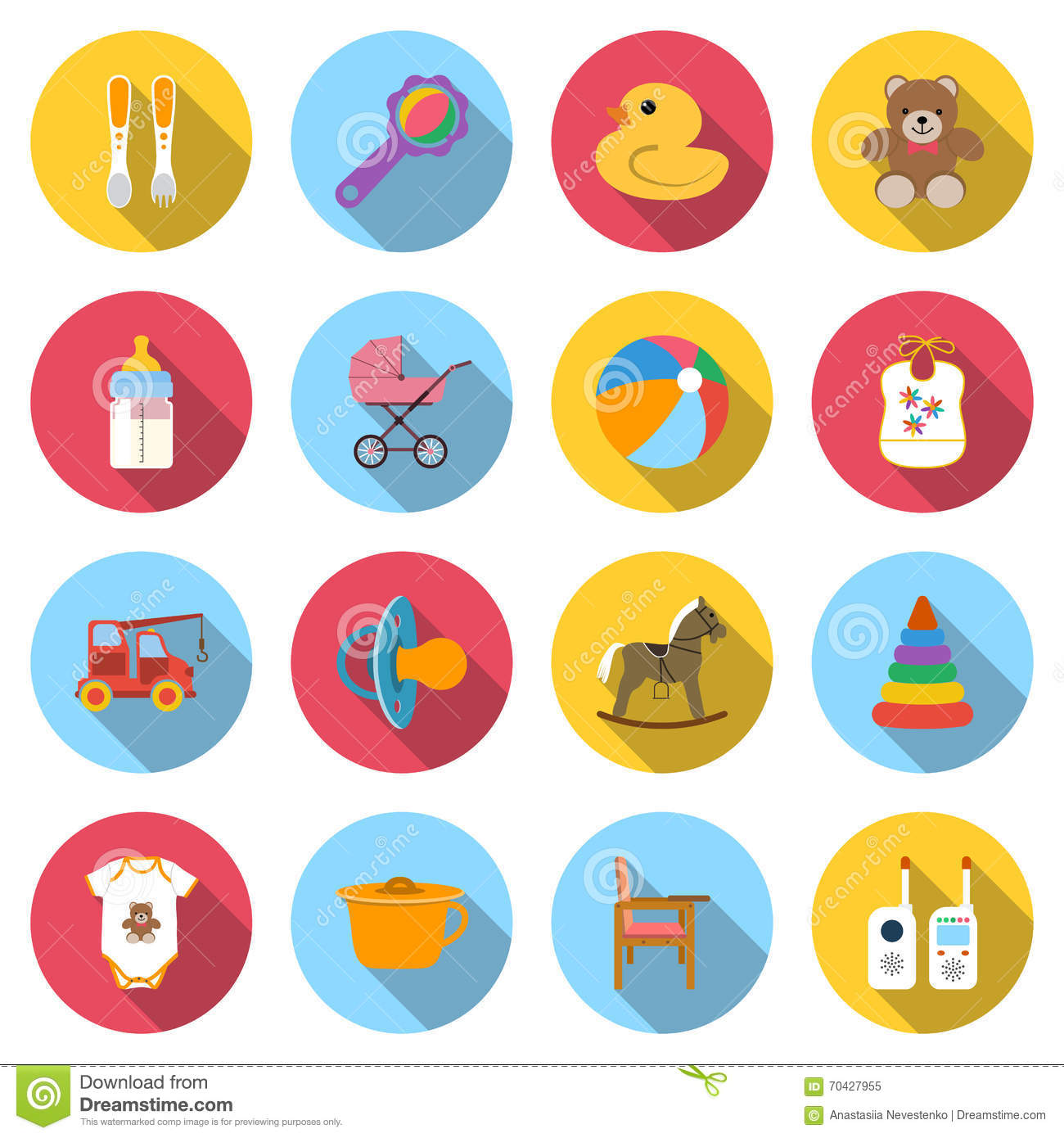 Set baby icons stock vector  Illustration of icon, flat - 70427955