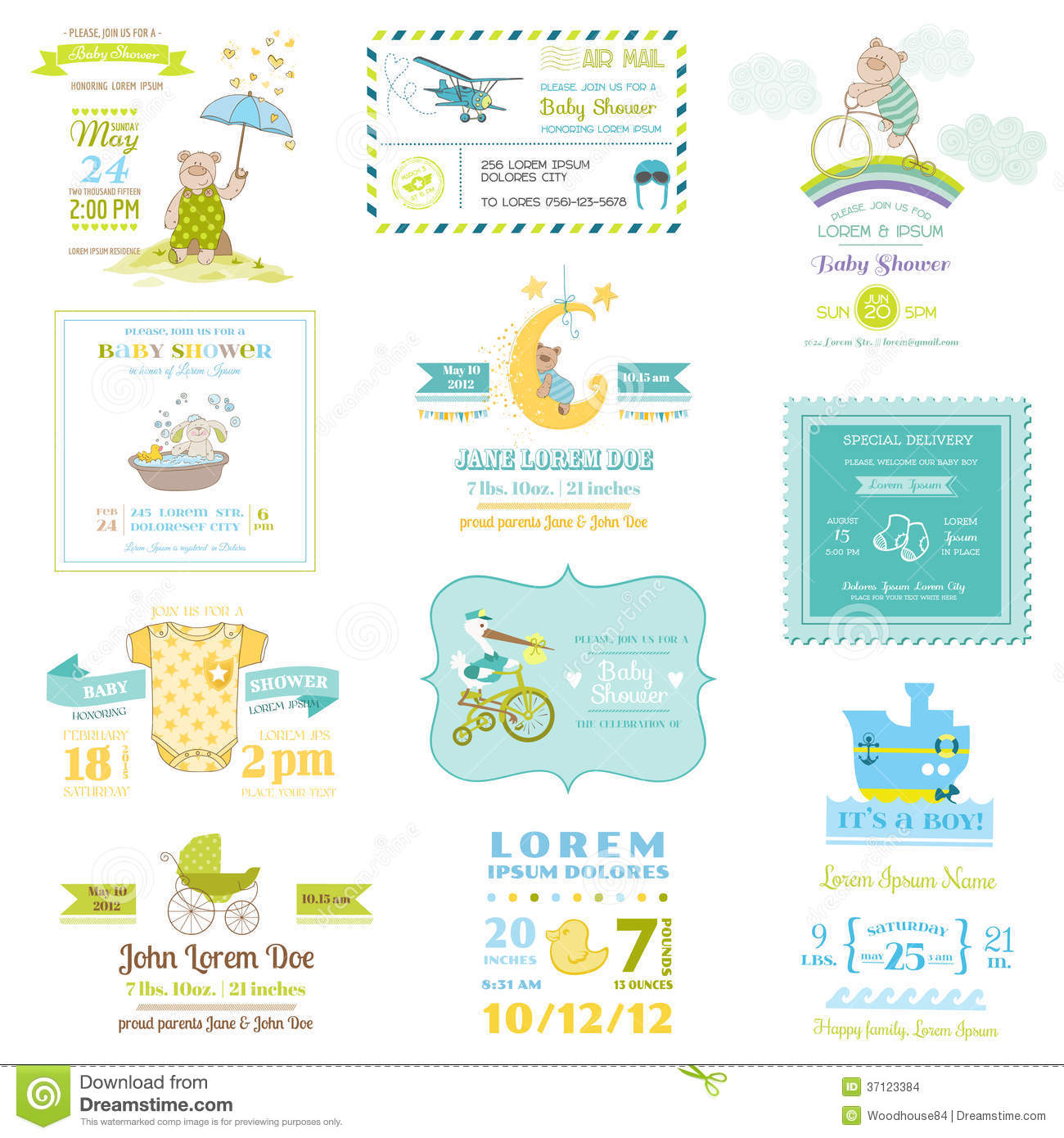 Baby boy arrival card vector by leonart image 600444 vectorstock - Set Of Baby Shower And Arrival Cards Stock Images Image Wallpaper Gallery Baby Boy Shower