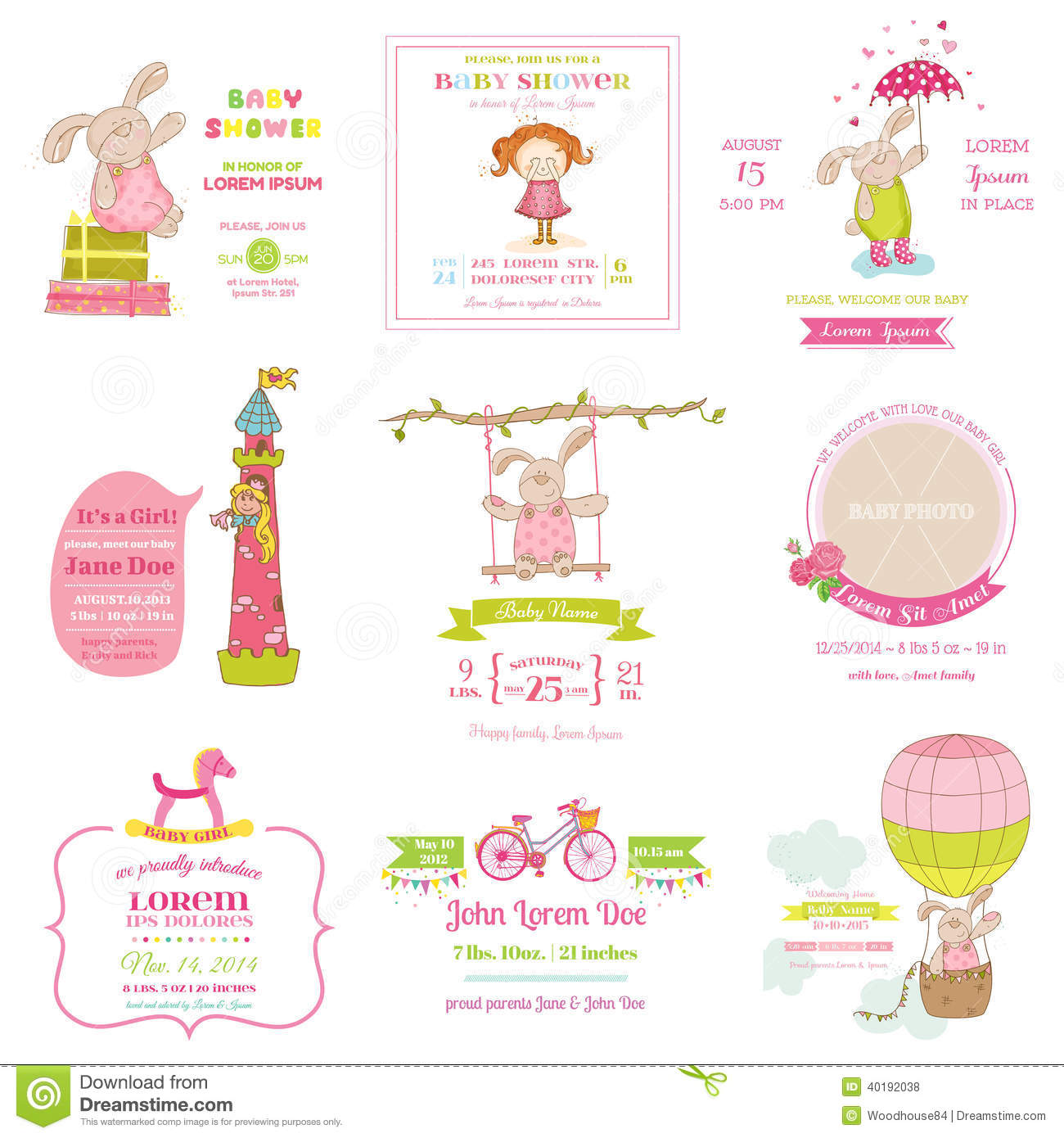 set of baby shower and arrival cards stock vector