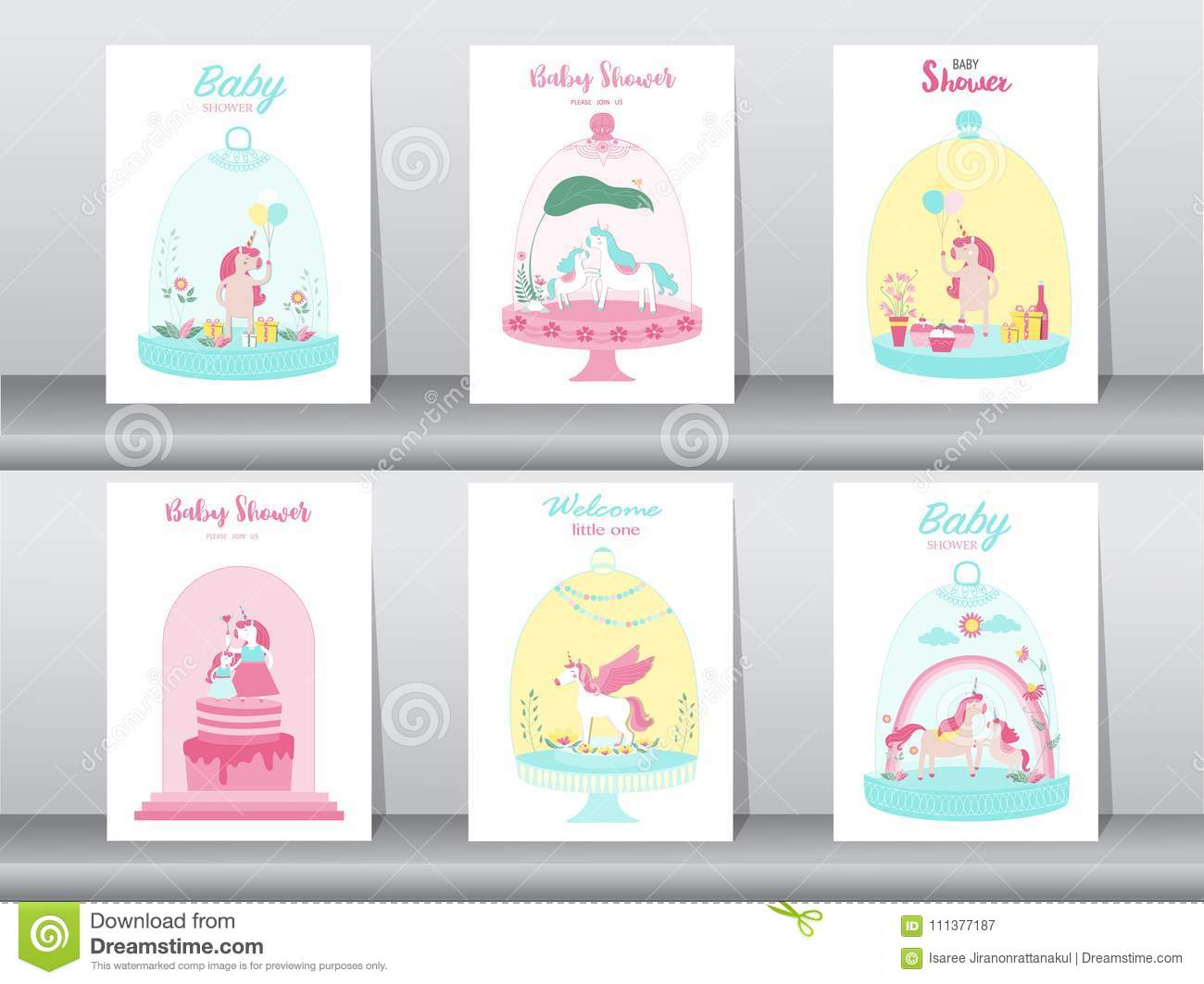 Set Of Baby Shower Cards Poster Invitations Cards Template Greeting