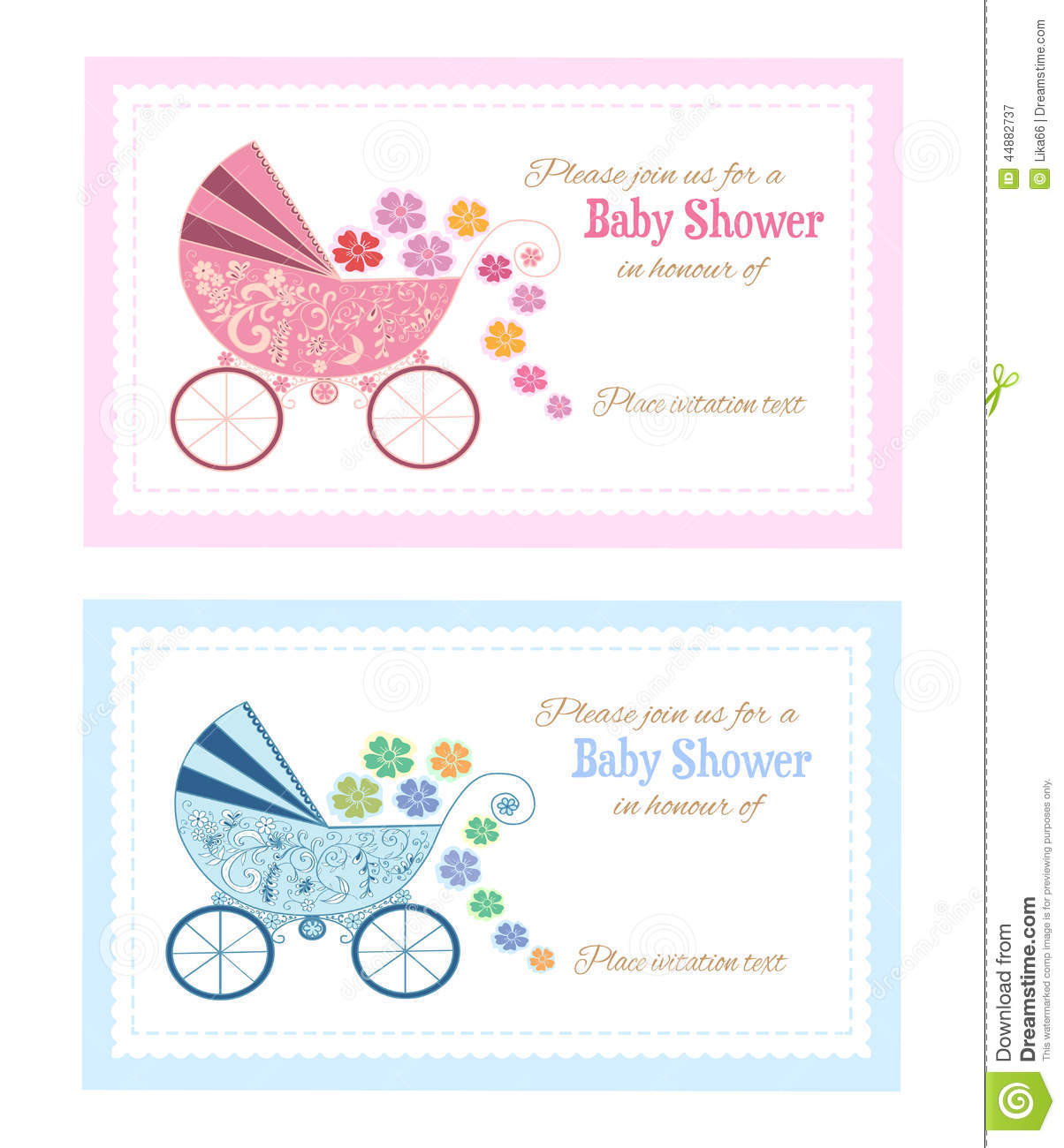 set of baby shower greeting cards
