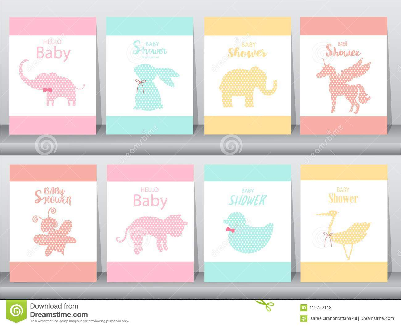 set of baby shower invitations on paper cards poster greeting