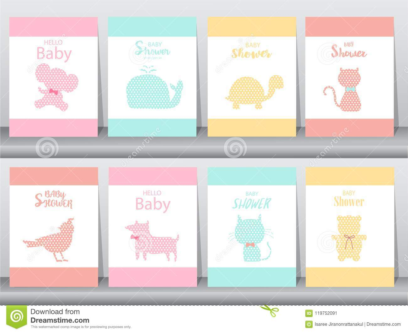 Set Of Baby Shower Invitations On Paper Cards, Poster, Greeting ...