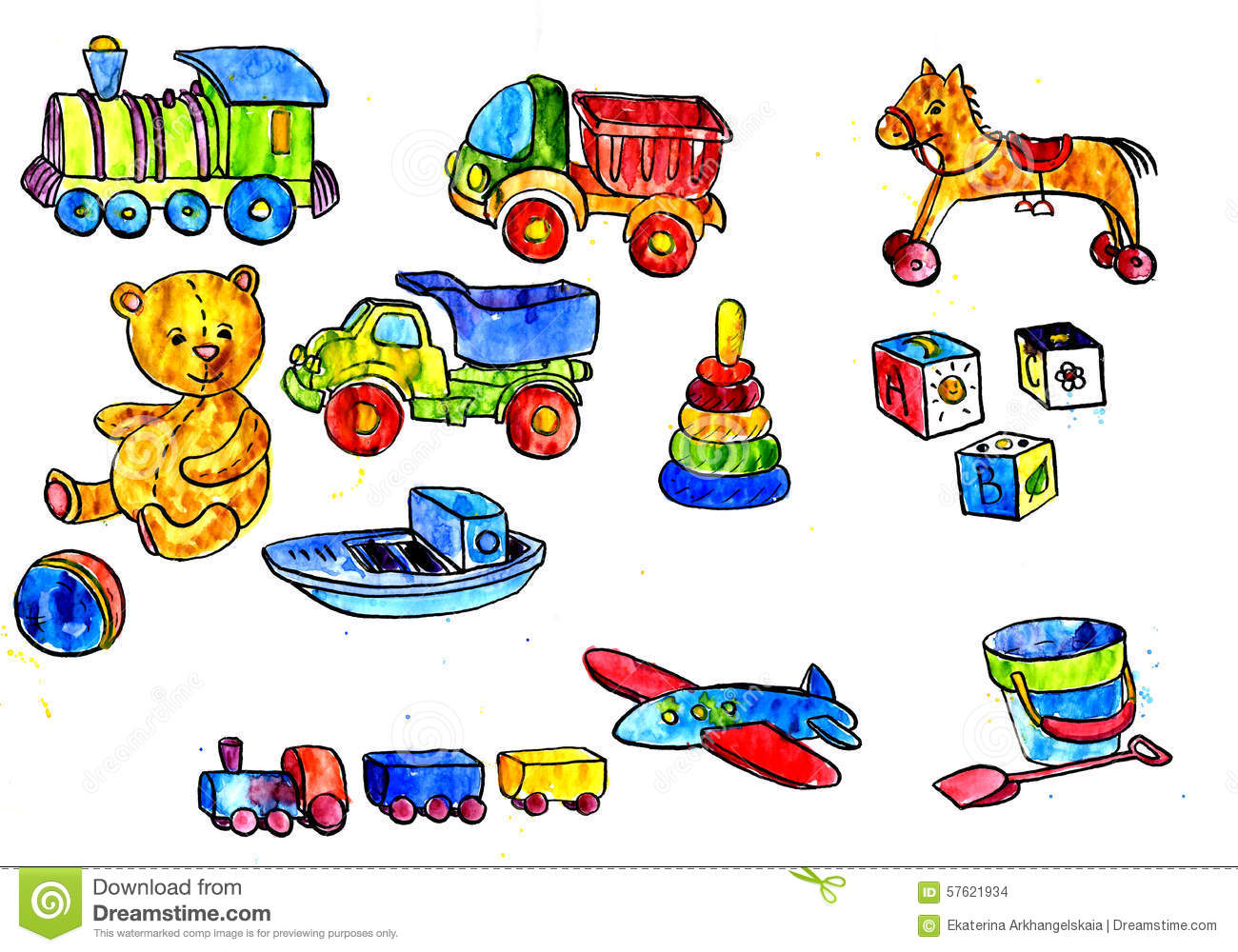 Baby Toys Drawing : Set of baby toys stock illustration image horse