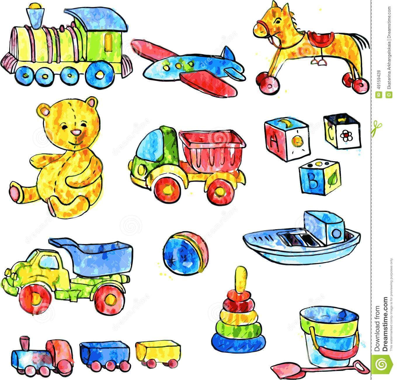 Baby Toys Drawing : Set of baby toys stock vector illustration cube image