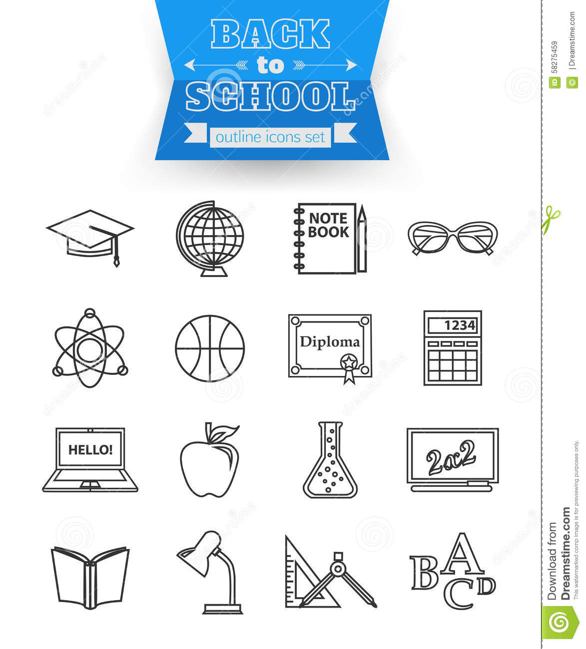 Set Of Back To School And Education Outline Icons Stock ...