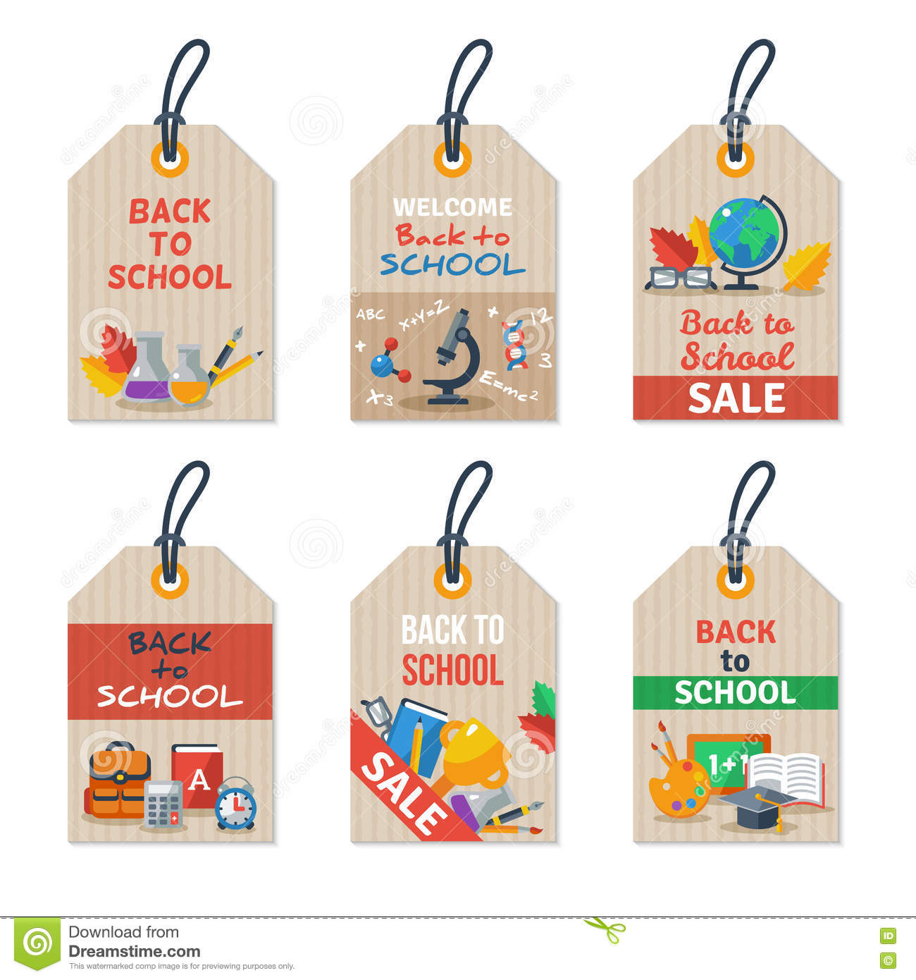 Set Of Back To School Tags On Craft Paper Stock Vector
