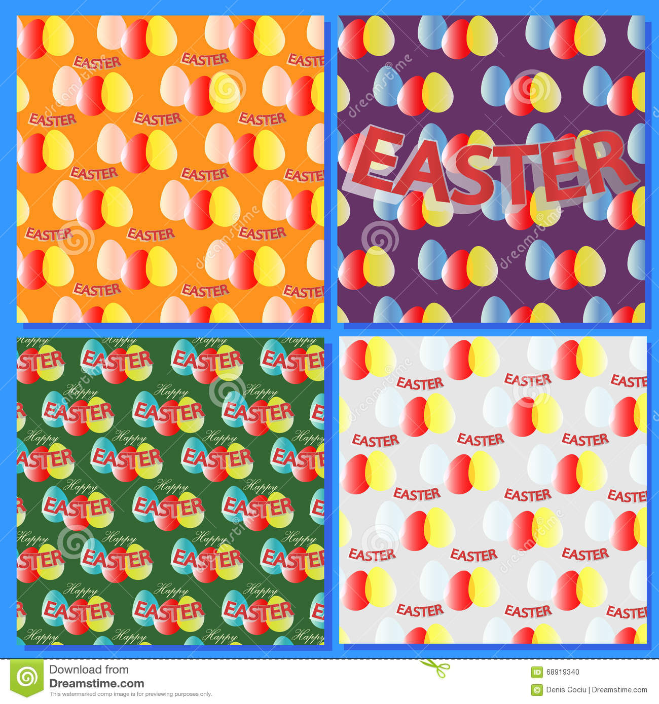 Set Backgrounds For Easter Holidays, Abstract With Easter
