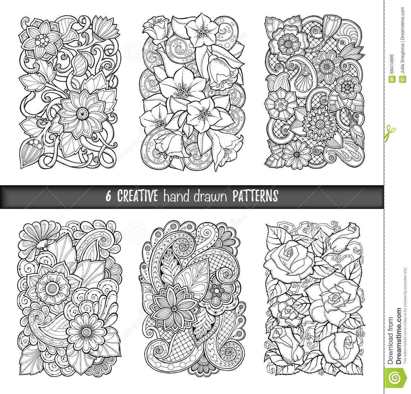 The wallpaper coloring book - Set Of Backgrounds In Vector With Doodles Flowers And Paisley For Wallpaper Pattern