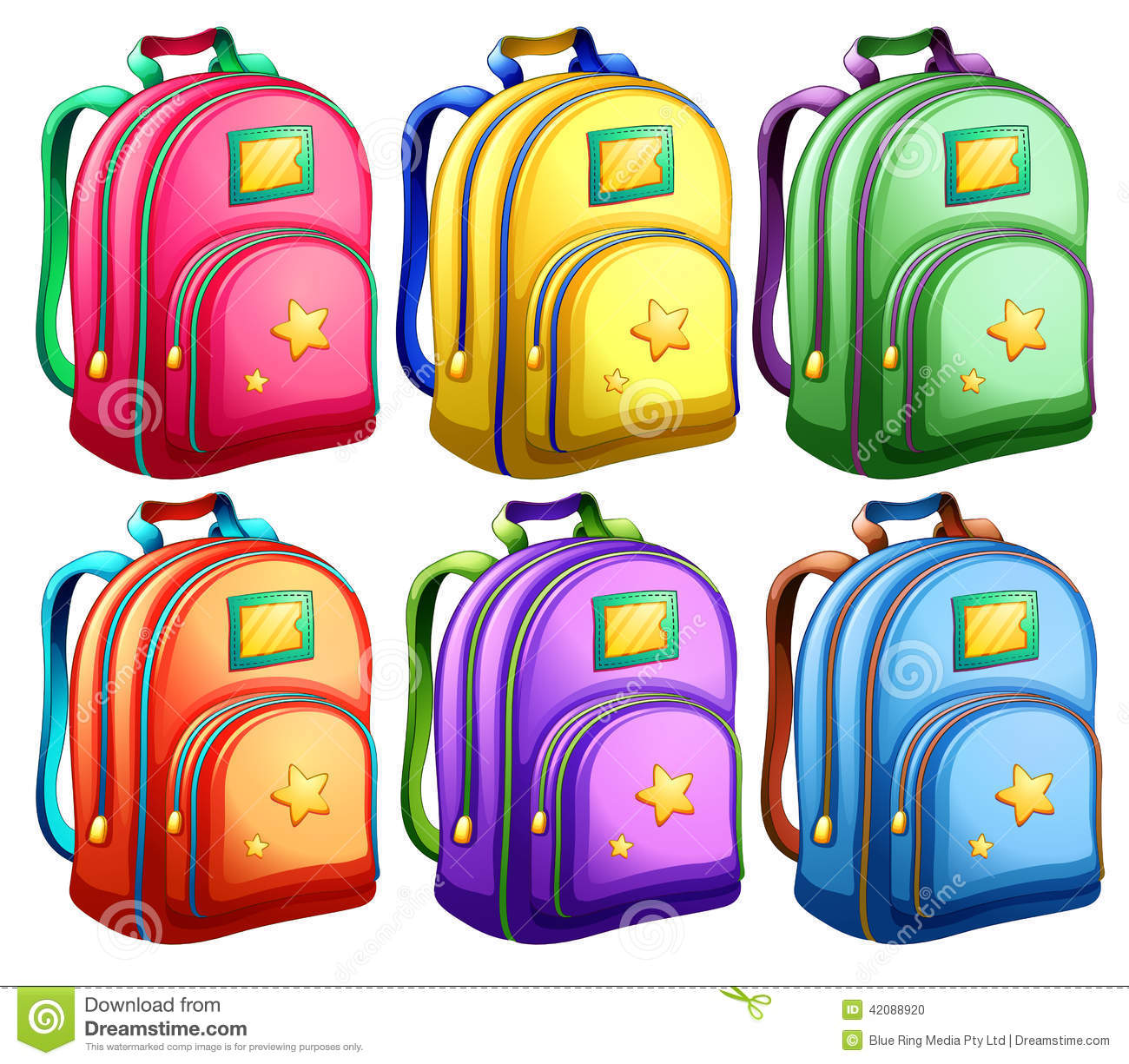 A Set Of Backpacks Stock Vector Image 42088920