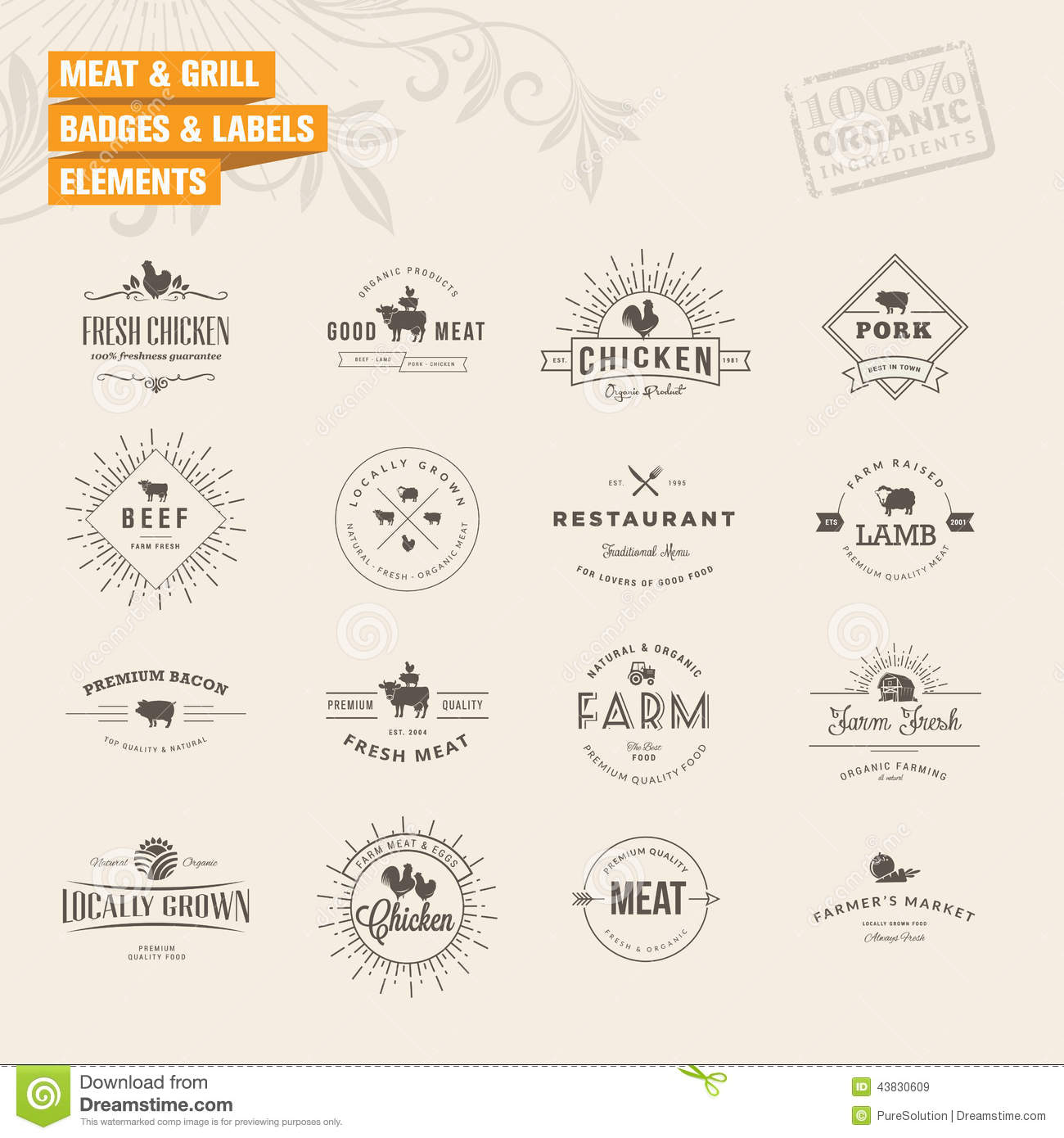 Set of badges and labels elements for meat and gri