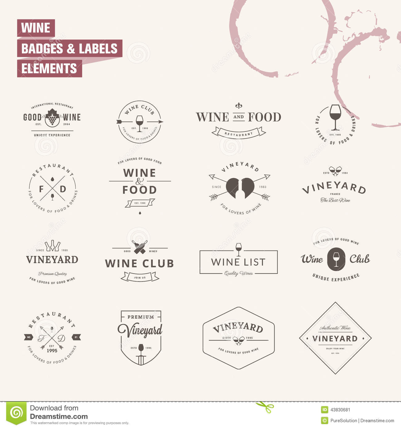 Set of badges and labels elements for wine