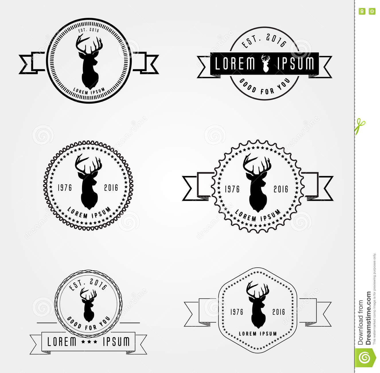 set of badges labels hipster logo vector illustration deer head