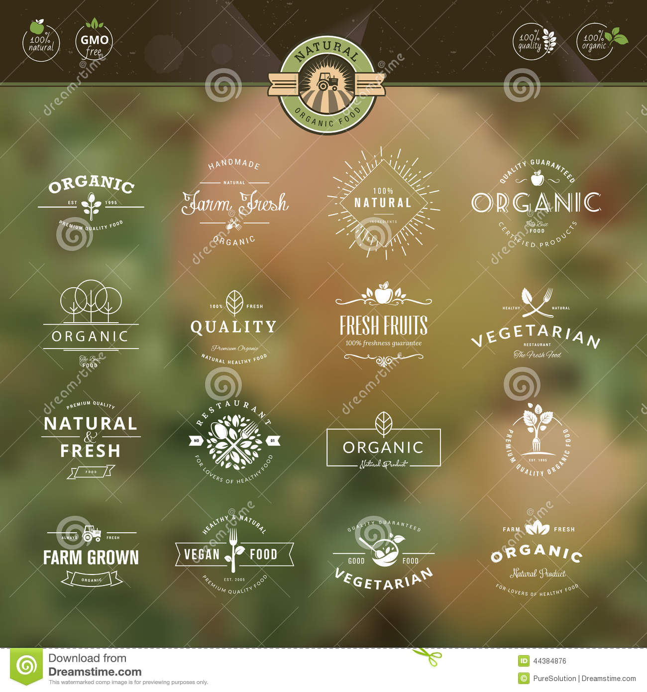 Set of badges and labels for organic food and drin